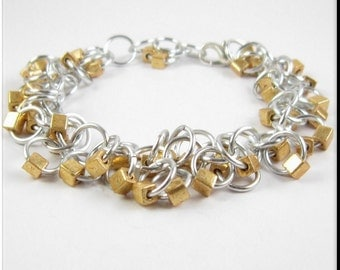 Chain Maille Bracelet or Anklet Shaggy Loops Silver and Gold Beaded Chainmail