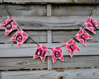 Be Merry Christmas Banner in Red Plaid - Photo Prop - Christmas Mantle Garland - Holiday Decoration