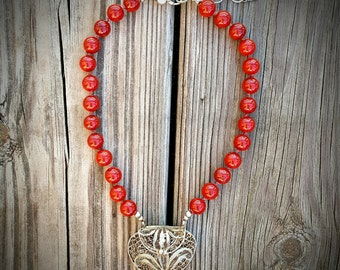 Red Statement Necklace with Indian Locket