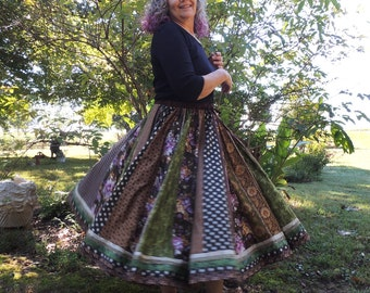 Long Panel Autumn Gypsy Patchwork Skirt