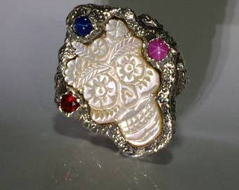Frida  Kahlo  Skull Ring Mother of Pearl R012