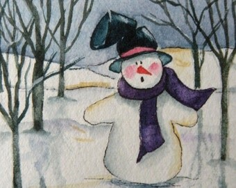 Snow Painting Art Card of Snowman ACEO Artist Trading Card of Snowman in Woods Original Watercolor Original Art