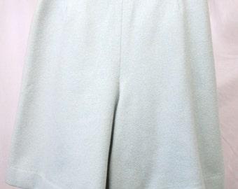 "Vintage 1960's Cullottes Pale Misty Green Wool Tweed Skort Skirt/Shorts Waist 27"""