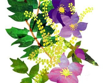 Floral Collage Print, Flower Art, Wall Art