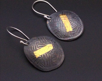 ON SALE Keum boo, 24k gold, fine silver and sterling silver dark patina dangle earrings