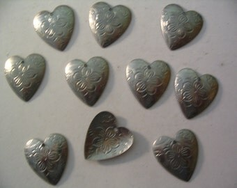 10 Vintage Heart Charms Stampings Jewelry Supplies