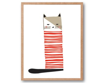 Cat Stripes Art Print, Cat Lover Gift, Nursery Print, Cat Illustration, Animal Illustration, Children Room decor, Kids room Art