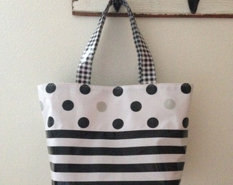 Beth's Medium Black and Silver Dot With Stripes Oilcloth Market Tote Bag