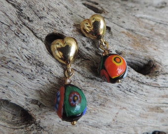 Vintage 50s Italian Murano Venetian Millefiori Glass Post  Earrings