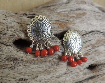 Southwest Sterling Silver Conchos with Red Agate  Post Earrings