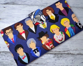 The many faces of The doctor - Long fandom geek Wallet  BiFold Clutch - all the Doctor who's or half size unisex wallet