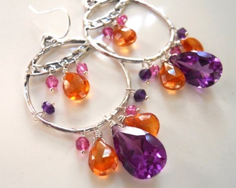 Napa Orange Topaz and Alexandrite Hoop Earrings, Topaz earrings, Alexandrite Earrings, Sterling silver hoop earrings, gemstone earrings