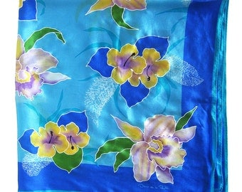 Vintage Oscar de la Renta Silk Scarf - Blue Floral Scarf Iris Flowers - Made in Japan - Silk