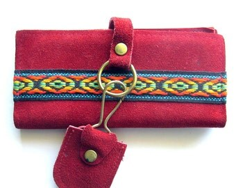 Boho Suede Vintage Wallet Billfold Organizer Red Suede Wallet with Key Chain - Unused NOS
