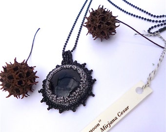 Black moon necklace, bead embroidery pendant, black onyx cabochon, silver and black, statement necklace