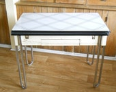 Vintage Enamel Top Table • Black and White Metal Chrome and Enamel Table • Kitchen Table Slide Out Leaves