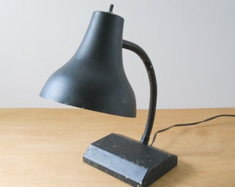 Vintage Gooseneck Metal Lamp • Chippy Black Desk Task Light • Shabby Goose Neck Lamp