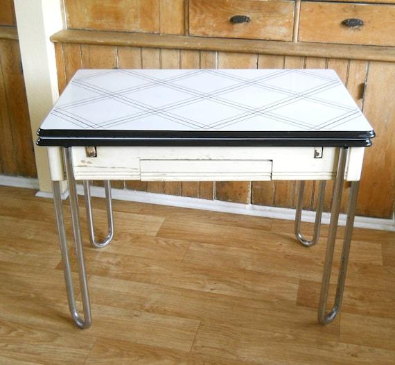 Vintage Enamel Top Kitchen Table: Vintage Enamel Top Table Black And White By Lisabretrostyle2