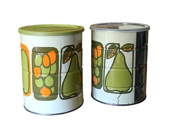 1960s Storage Tins, Retro Kitchen Canisters, Vintage Coffee Cans, Avocado Green & Orange