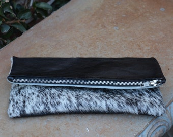 Black Leather with Black and White Speckled Cow Hair Pouch Clutch Bag