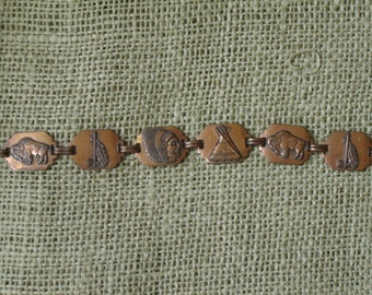 Vintage Copper Style Bracelet Native American Stanped Links Southwest Designs 1970s