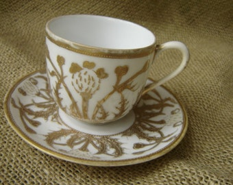 Vintage Demitasse Cup And Saucer Hand Painted Nippon Gold Embossed Demi Cup and Saucer Wedding Decor