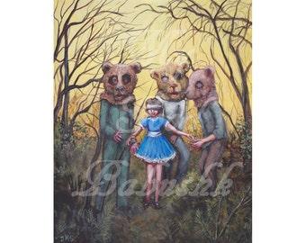 The Teddy Bear Picnic, Digital Download, Spooky, Surreal, Fairytale, Folktale, Forest, Dark, Macabre, Masks, Blindfold, Surprise, Bears