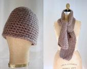 Vintage Mauve Wool Crochet Winter Hat and Scarf Set