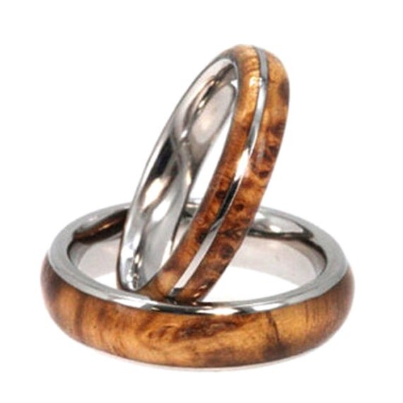 Wooden Wedding Bands Wood Wedding Ring Set Black By