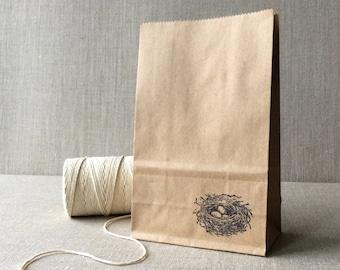 20 Kraft Bird Nest Favor Bags, Kraft robin's nest paper bags, easter favor bags, candy bags, goody bags, candy buffet bags