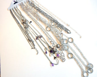 """CHAINS- N480 Variety 11 Silver-tone 18"""", 22"""", 26"""", 36"""" Fancy Finished Fashion Necklace Chains"""