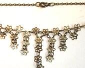 vintage silver flower chain drops large bracelet or anklet
