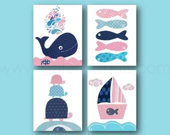Nautical Nursery Decor, Navy Blue Pink, Bathroom art, Whale Nursery art, kids room decor, baby nursery, boat fish ocean, Set of four prints