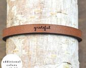 grateful - adjustable leather bracelet  (additional colors available)