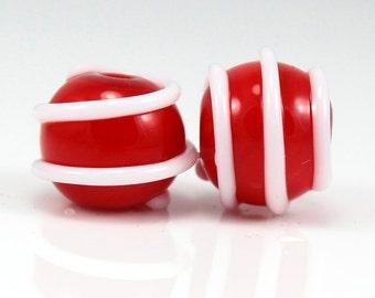 Lampwork Pair, Red and White, Valentine's Beads, Handmade beads, Donna Trull, SRA, Artisan Beads
