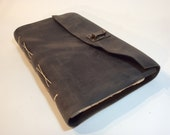 Large Gray Leather Watercolor Sketchbook - artist book- handmade with reclaimed leather, handmade watercolor paper. WC501