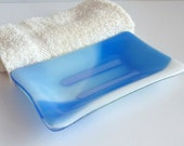 Fused Glass Soap Dish in Streaky Blue and White