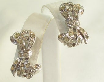 Vintage 60s Rhinestone Bow Screw Back Earrings Silver Plate
