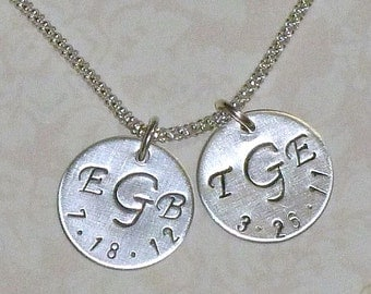 Monogram Necklace - Personalized Monogram and birthdate Hand Stamped Sterling Silver Charm Necklace