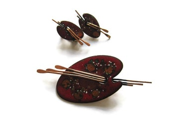 Vintage Matisse Brooch and Earrings Red Copper Enamel Painter Pallet Brushes