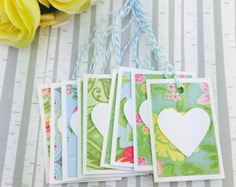 Mini Heart Tags Garden Party Collection Set of 9
