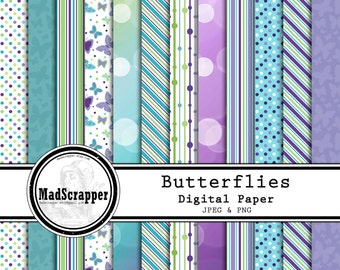 Digital Scrapbook Paper Purple Butterflies 12 Patterns 4 Solids 12 x 12 Instant Download