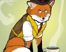 Dapper Red Fox 11x14 Giclee Illustration Print, Wall Art, Tea Time, Fancy