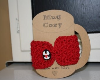 Mug Cozy with Penguin Button