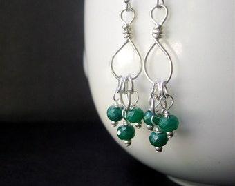 Emerald Earrings, Long Gemstone Earrings, Emerald Sterling Silver Earrings