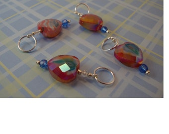 10 mm faceted heart stitch markers for knitting