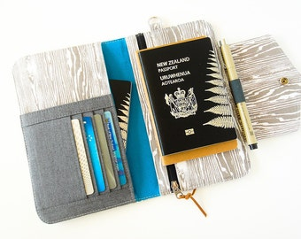 Passport Wallet, Travel Wallet, Family Passport Holder in Gray Wood Grain/Faux Bois To Fit Up to Four Passports -  Made To Order