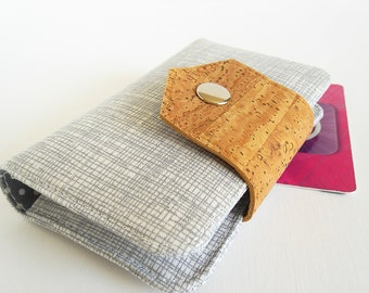 Card Wallet - Business Card Holder, Card Case in Silver Cross Hatch - Made to Order