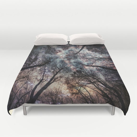 Trees Duvet Cover, Decorative bedding, stars Bedding, night sky, black white bedding, nature, bedroom blanket, Starry Night Bedding, Drama