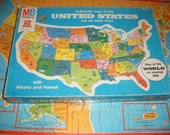 Vintage Wooden United States Wooden Puzzle Map with World Map on Back 1975